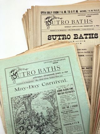 Large and Significant Archive of Official Programs for the Sutro Baths in San Francisco, Covering...