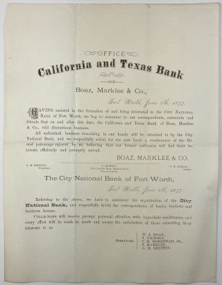Office California and Texas Bank of Boaz, Marklee & Co... [caption title]. Texas, Finance