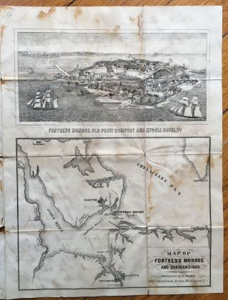 Civil War Letter Sheet with A Bird's Eye View of Fortress Monroe and a Map of the Area]. Civil...