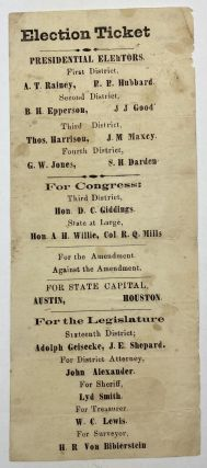 Democratic Ticket for the 1872 Election in the Third Congressional District of Texas]. Texas,...
