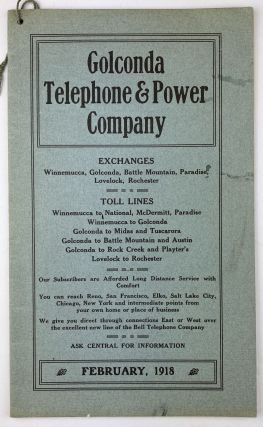 Golconda Telephone & Power Company [cover title]. Nevada, Directories