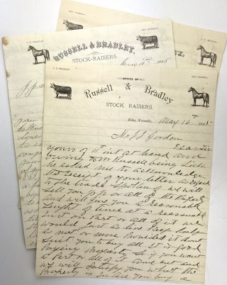 Three Letters Regarding an Idaho Ranch Sale from Russell & Bradley, Prominent Nevada Stock...