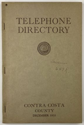 Telephone Directory. Contra Costa County. California, Directories