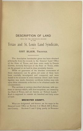 Description of Land Held for the Certificate Holders of the Texas and St. Louis Land Syndicate [cover title]