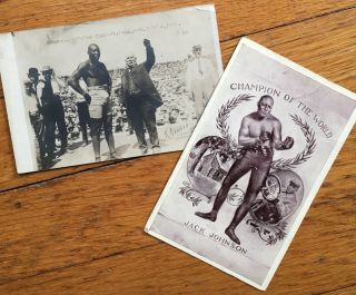 Two Picture Postcards Featuring Jack Johnson]. African-Americana, Jack Johnson