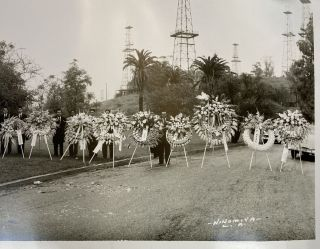 [Panorama of a Japanese-American Funeral in Long Beach with Oil Derricks in the Background]