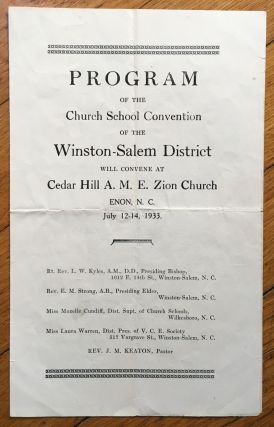 Program of the Church School Convention of the Winston-Salem District Will Convene at Cedar Hill...
