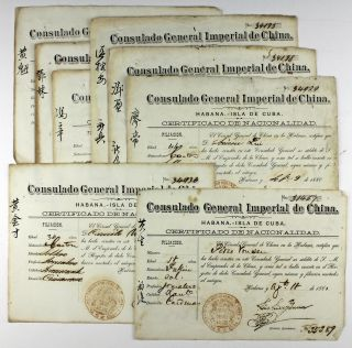Group of Eight Certificates of Nationality for Chinese Citizens in Cuba from the Consulado...