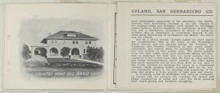 Upland: The Center of the Great Citrus Belt of San Bernardino Valley [cover title]