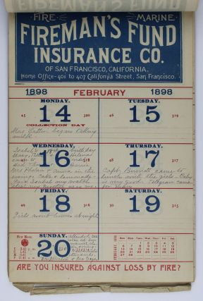 A Merry Christmas and a Happy New Year 1898 from the Largest Pacific Coast Company the Firemans Fund Insurance Company [cover title]