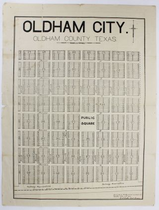 Oldham City. Oldham County Texas [caption title]. [with:] [Deed, Stock Certificate, & Telegram from Rock Island Investment Company]