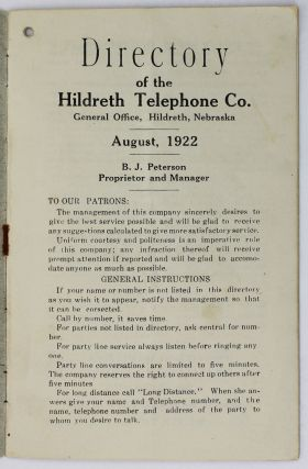 Directory of the Hildreth Telephone Co. General Office, Hildreth, Nebraska. August, 1922 [caption title]