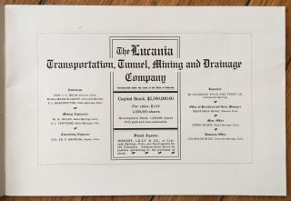 The Lucania Transportation, Tunnel, Mining and Drainage Company