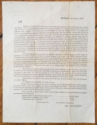Circular Printed in French Concerning the Panic of 1857] Mobile, 16 Octobre, 1857. Depuis Ma...