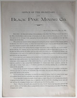 Office of the Secretary of the Black Pine Mining Co. [caption title]. Montana, Mining