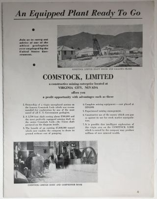 An Equipment Plant Ready to Go. Comstock, Limited a Constructive Mining Enterprise Located at...
