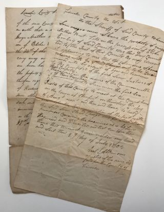 Two Manuscript Legal Documents Relating to an 1805 Case of Horse Thievery Involving a Kentucky...