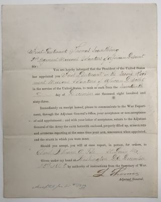 Appointment for a Lieutenant of the 2d Missouri]. Thomas Scantleburg, Civil War