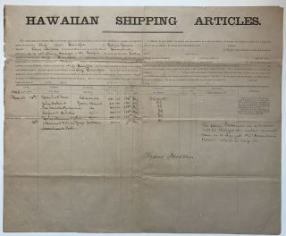 Hawaiian Shipping Articles [caption title]. Hawaii, Whaling