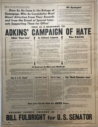 This Is a Response to Adkins' Campaign of Hate [caption title]. Arkansas