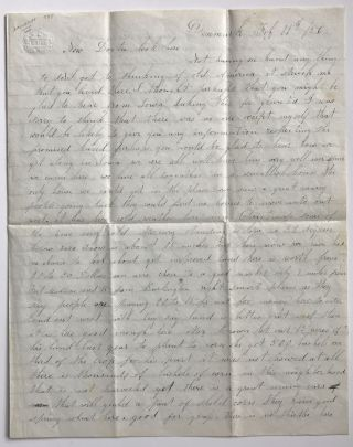 Manuscript Letter to Dr. William Maynard Describing Life in Denmark, Iowa]. Iowa, Timothy Allen