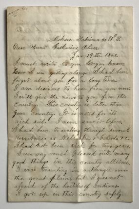 Autograph Letter from a Deaf Gold Prospector in 1868 Washington Territory]. Benton Goodwin,...