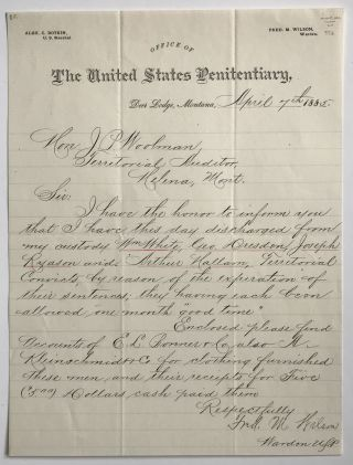 Autograph Letter of Discharge from a Montana Penitentiary for Four Inmates, Signed by the...