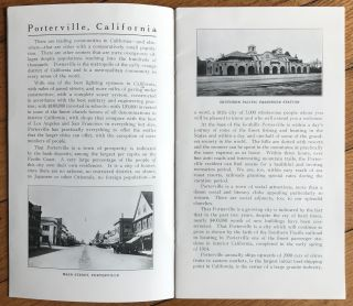 Porterville. Tulare County, California. Metropolis of Central California Citrus Belt; Center of a District of Diversified Resources