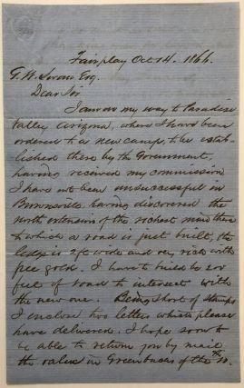 Autograph Letter, Signed, by M.H. Kolloch Regarding an 1866 California Gold Discovery]....