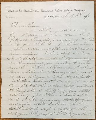 Autograph Letter Discussing Canal Construction Around Silver Creek and Echo Lake by the...