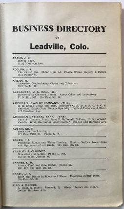 1910 - 1911 Business Directory of Leadville, Colo; Buena Vista; Aspen; Glenwood Springs; New Castle; Rifle; Pallisade; Clifton; Delta, Colo.; Grad Junction; Fruita; Hotchkiss; Paonia; Olathe; Montrose; Gunnison [cover title]