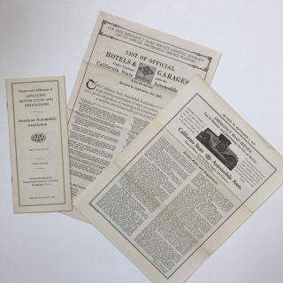 1920s California State Automobile Association Pamphlets on Roadside Assistance and Other...
