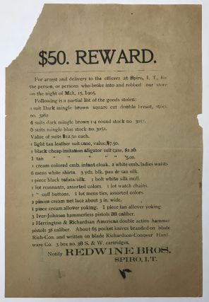 $50. Reward. For Arrest and Delivery to Officers at Spiro, I.T., for the Person, or Persons Who...