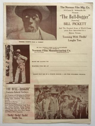"The Norman Film Mfg. Co....Presents ""The Bull-Dogger"" Featuring Bill Pickett and the Greatest..."