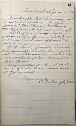 [Manuscript Ledger of the Minutes of the Truckee Building and Loan Association]