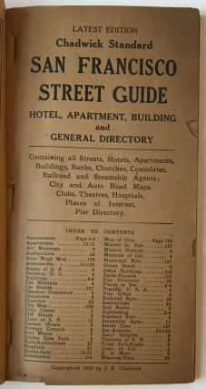 Chadwick Standard San Francisco Street Guide. Hotel, Apartment, Building and General Directory