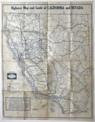 Highway Map and Guide of California and Nevada. California, Nevada, Automobiles