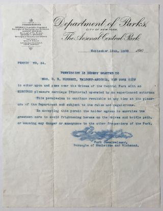 Typed Letter, Signed, Granting Permission to Mrs. G.B. Herbert to Drive Her Electric Car in...