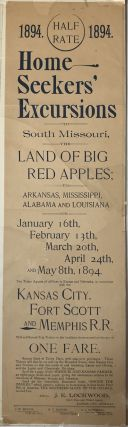 1894. Half Rate. 1894. Home Seekers' Excursions to South Missouri, the Land of Big Red Apples...