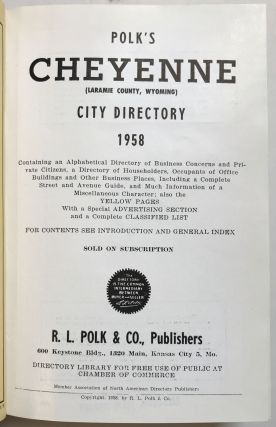 Polk's Cheyenne (Laramie County, Wyoming) City Directory 1958. Wyoming