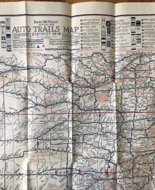 Rand McNally Official 1922 Auto Trails Map District No. 12