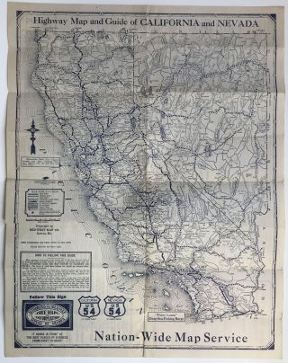 Highway Map and Guide of California & Nevada. California, Nevada, Automobiles