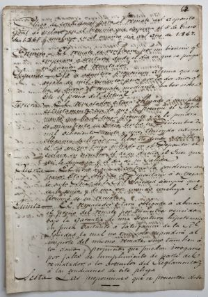 Manuscript Rules for 1860s Slave Auctions in Santiago de Cuba]. Cuba, Slavery