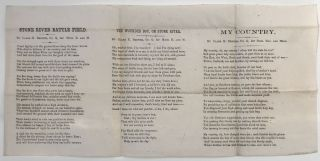 Civil War Broadside with Three Poems by Clark K. Brewer of the 1st Michigan Engineers]. Clark K....